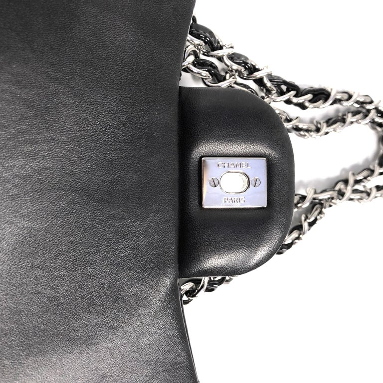 Chanel Classic Quilted Jumbo Single Flap Black Patent Bag  For Sale 4