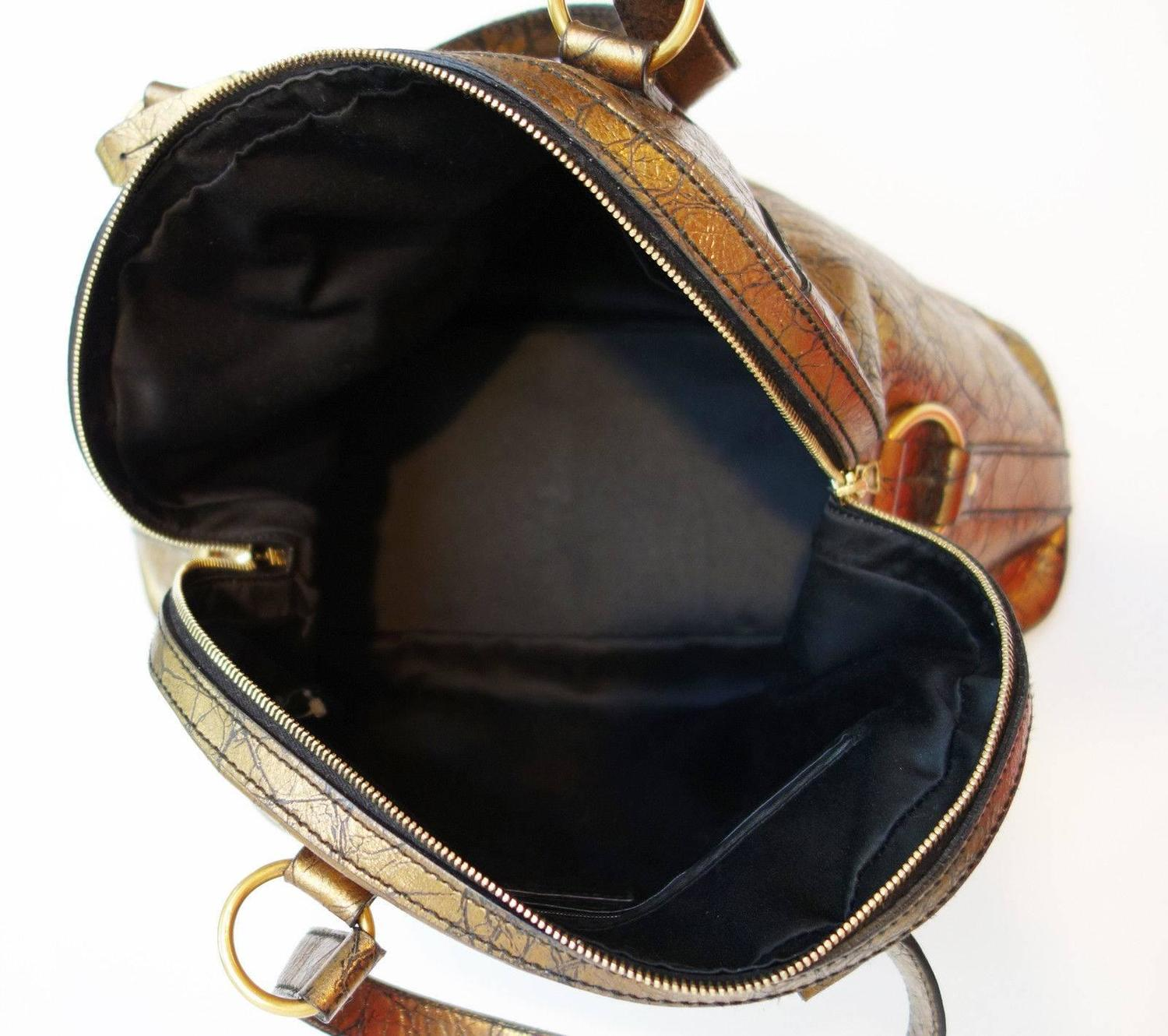 Yves Saint Laurent Bronze Distressed Leather Large Muse Bag Purse ...