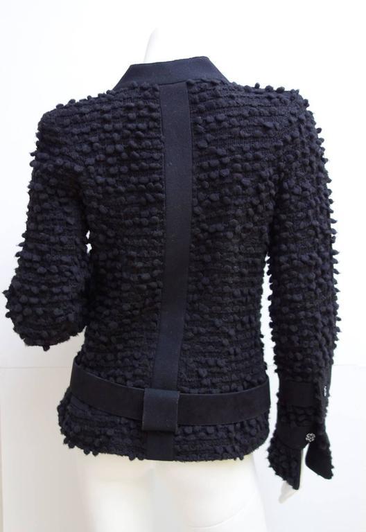 Amazing Chanel Black Wool Popcorn Tweed Gripoix Belt Jacket Size 40 6