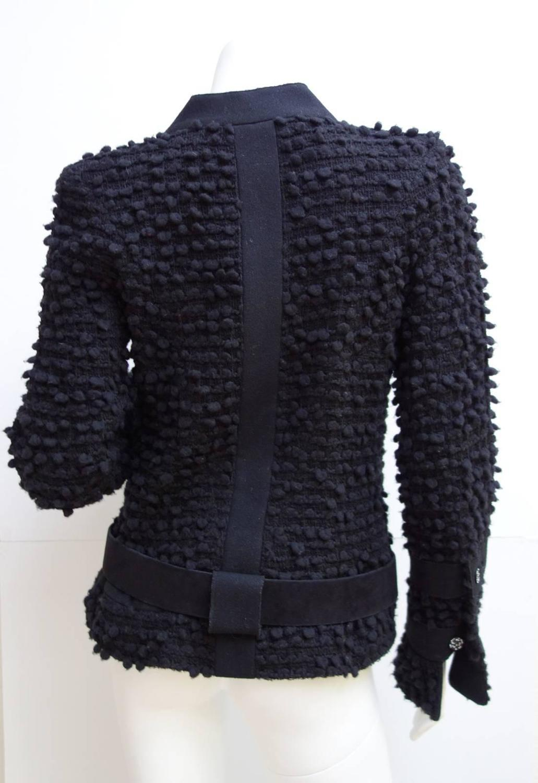 Amazing CHANEL Black Wool Popcorn Tweed Gripoix Belt ...