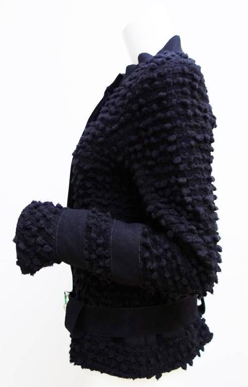 Amazing Chanel Black Wool Popcorn Tweed Gripoix Belt Jacket Size 40 5