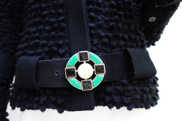 Amazing Chanel Black Wool Popcorn Tweed Gripoix Belt Jacket Size 40 2