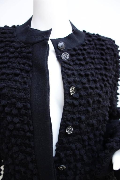 Amazing Chanel Black Wool Popcorn Tweed Gripoix Belt Jacket Size 40 8