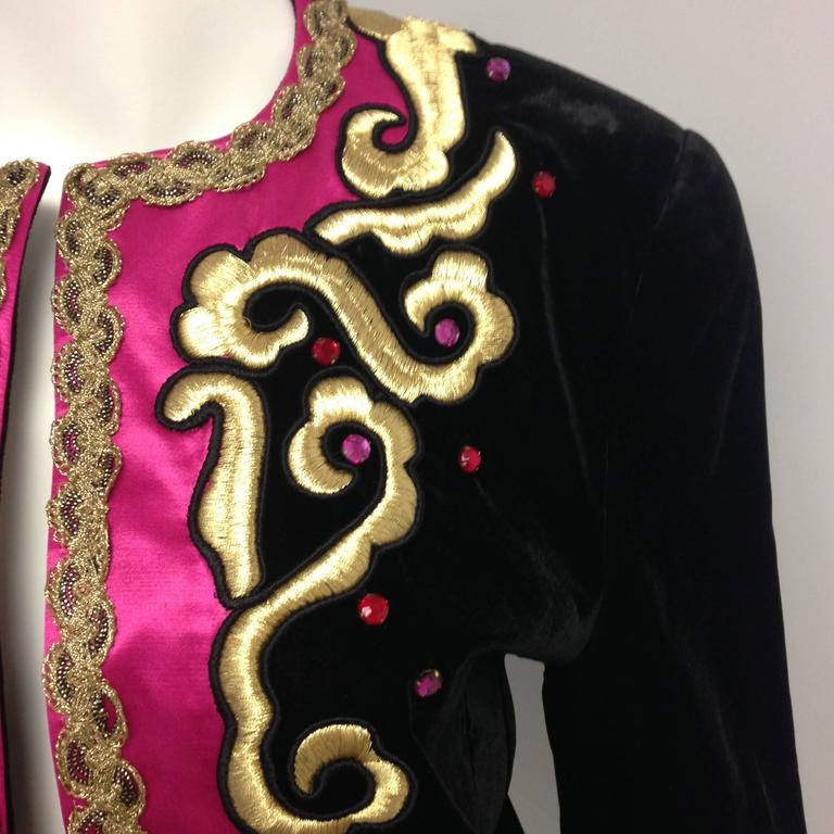 1980s Escada by Margaretha Ley Black Velvet Fusia and Gold Evening Jacket 3