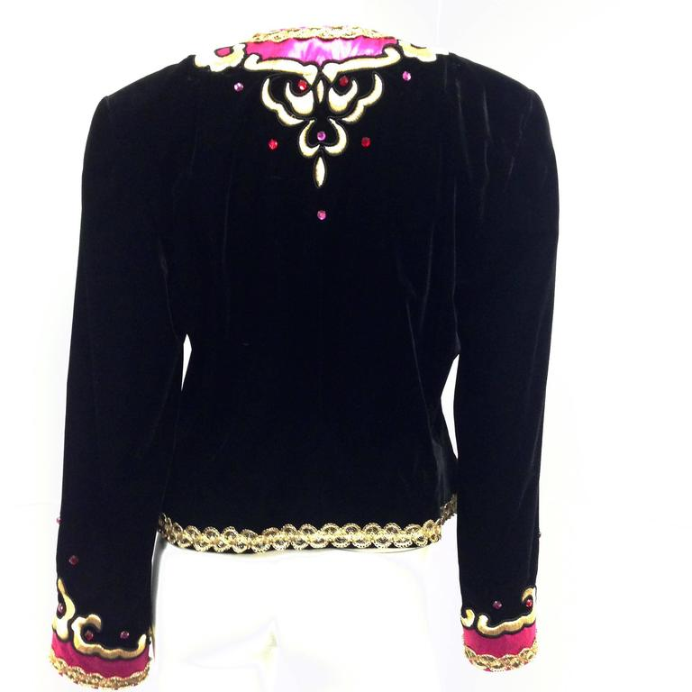 1980s Escada by Margaretha Ley Black Velvet Fusia and Gold Evening Jacket 5