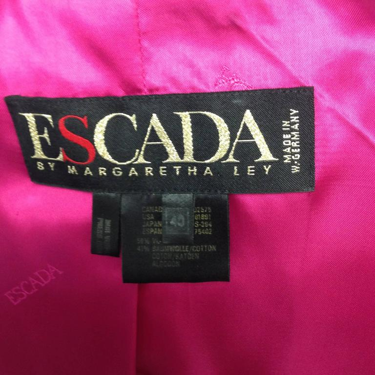 1980s Escada by Margaretha Ley Black Velvet Fusia and Gold Evening Jacket 6