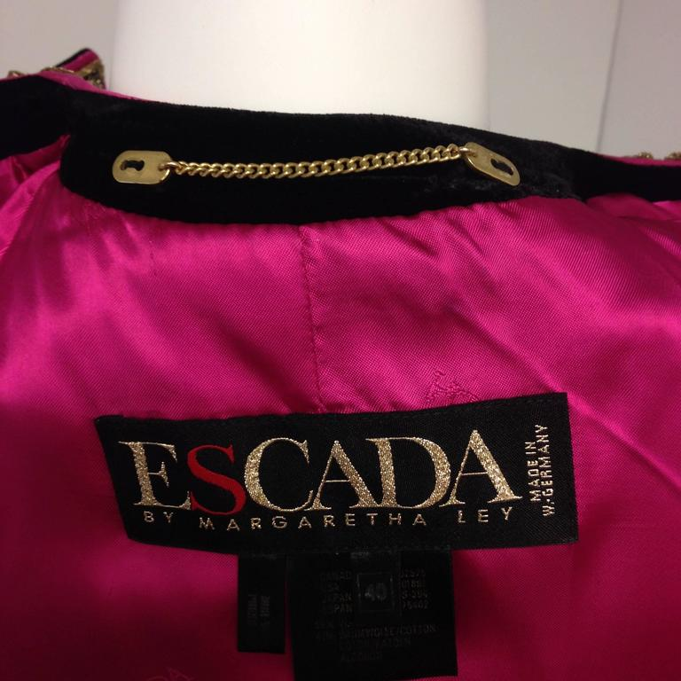 1980s Escada by Margaretha Ley Black Velvet Fusia and Gold Evening Jacket 7