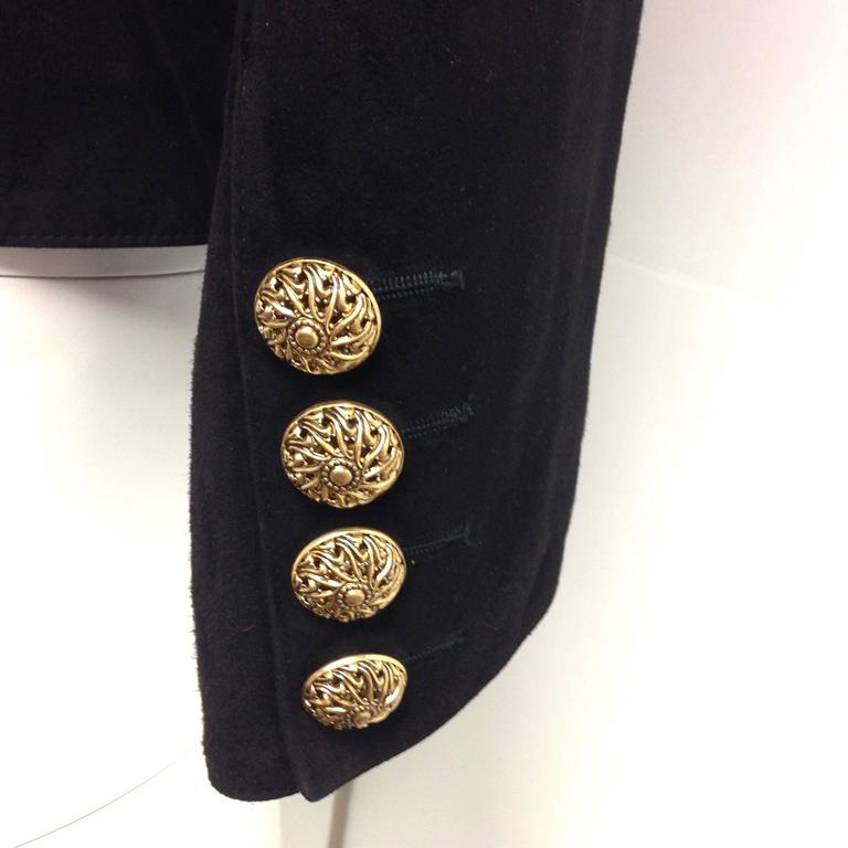 Vintage Yves Saint Laurent Rive Gauche Embroidered Gold and Black Leather Jacket 3
