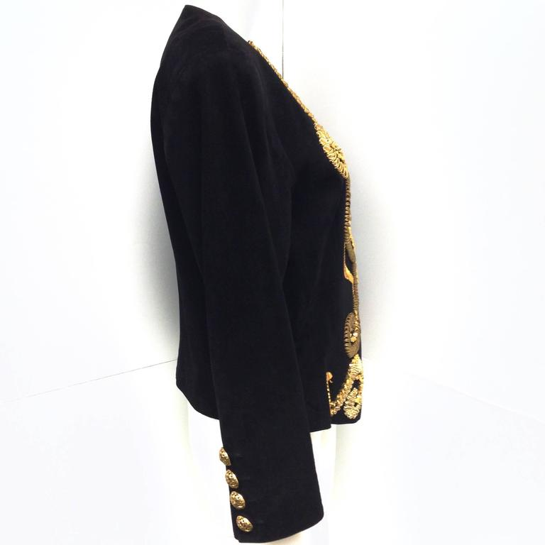 Vintage Yves Saint Laurent Rive Gauche Embroidered Gold and Black Leather Jacket 2