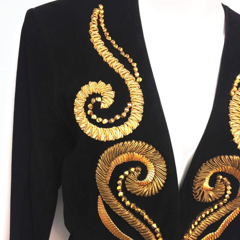 Vintage Yves Saint Laurent Rive Gauche Embroidered Gold and Black Leather Jacket 4