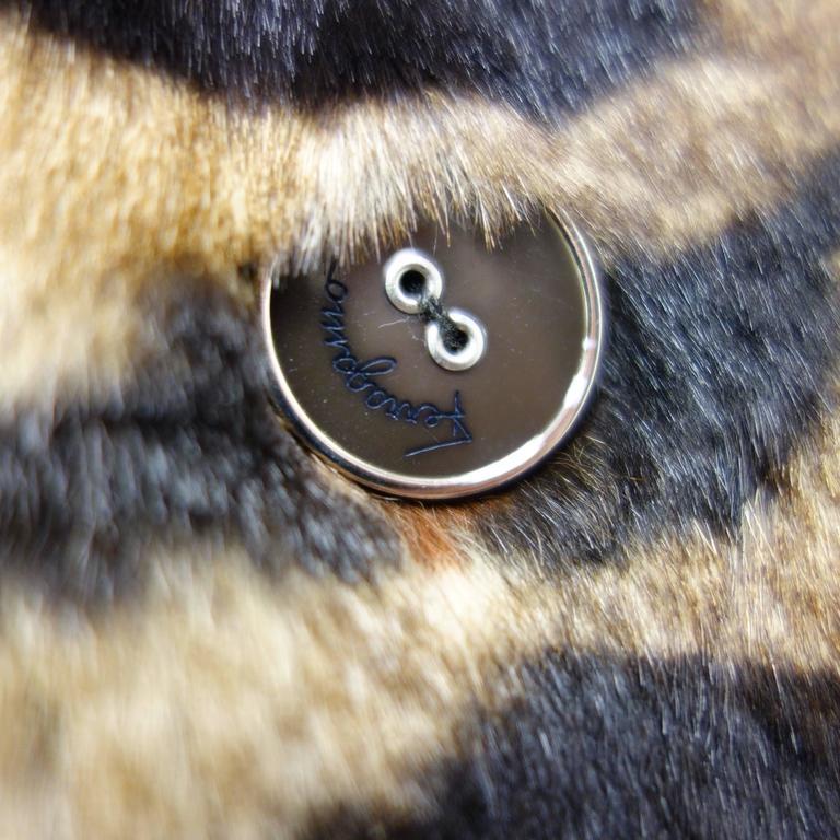 Salvatore Ferragamo Lapin Fur Animal Print Leather Coat  3