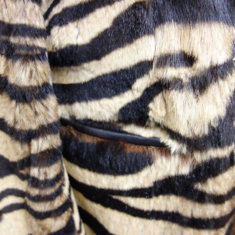 Salvatore Ferragamo Lapin Fur Animal Print Leather Coat  In Excellent Condition For Sale In Westlake Village, CA
