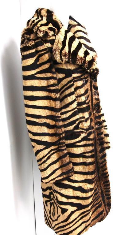 Salvatore Ferragamo Lapin Fur Animal Print Leather Coat  5
