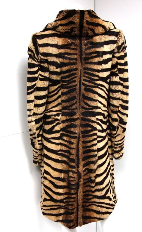Salvatore Ferragamo Lapin Fur Animal Print Leather Coat  6