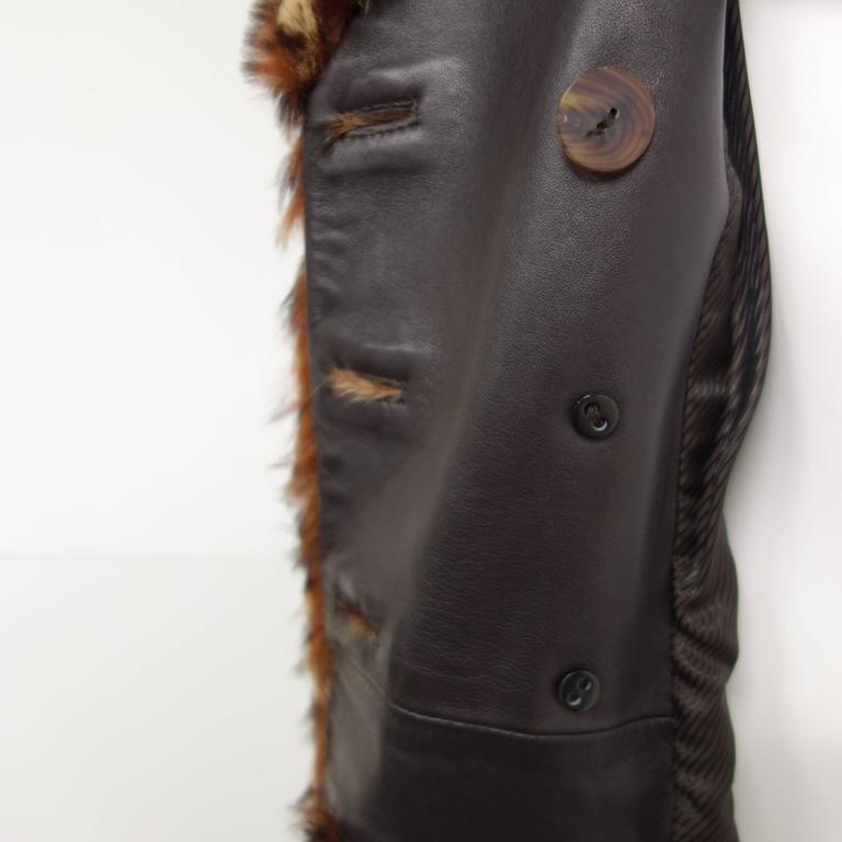Salvatore Ferragamo Lapin Fur Animal Print Leather Coat  7