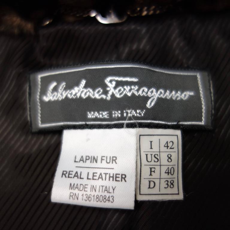 Salvatore Ferragamo Lapin Fur Animal Print Leather Coat  8
