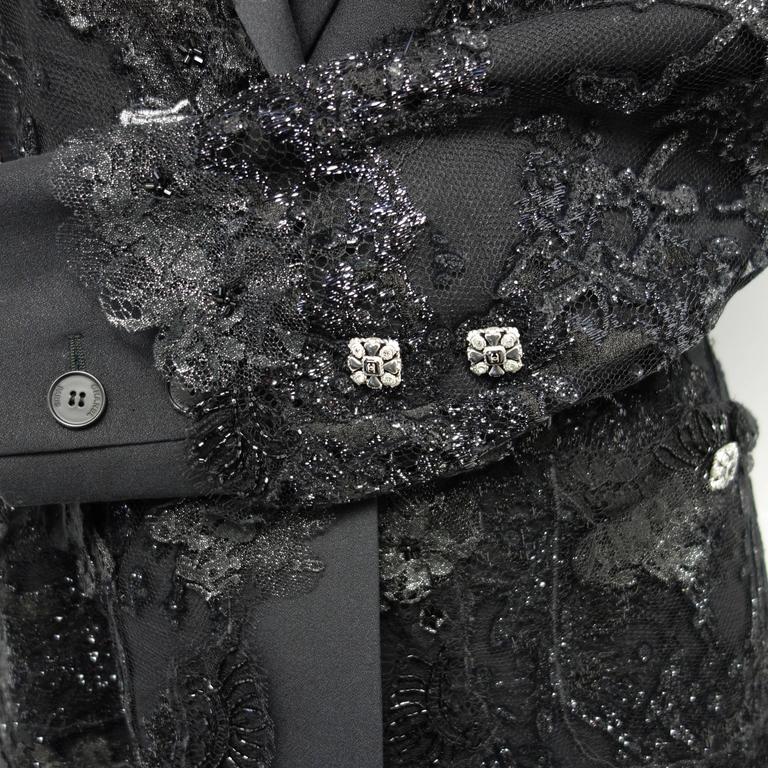 Chanel 11A Black Lesage Lace Runway Jacket Size 40 7