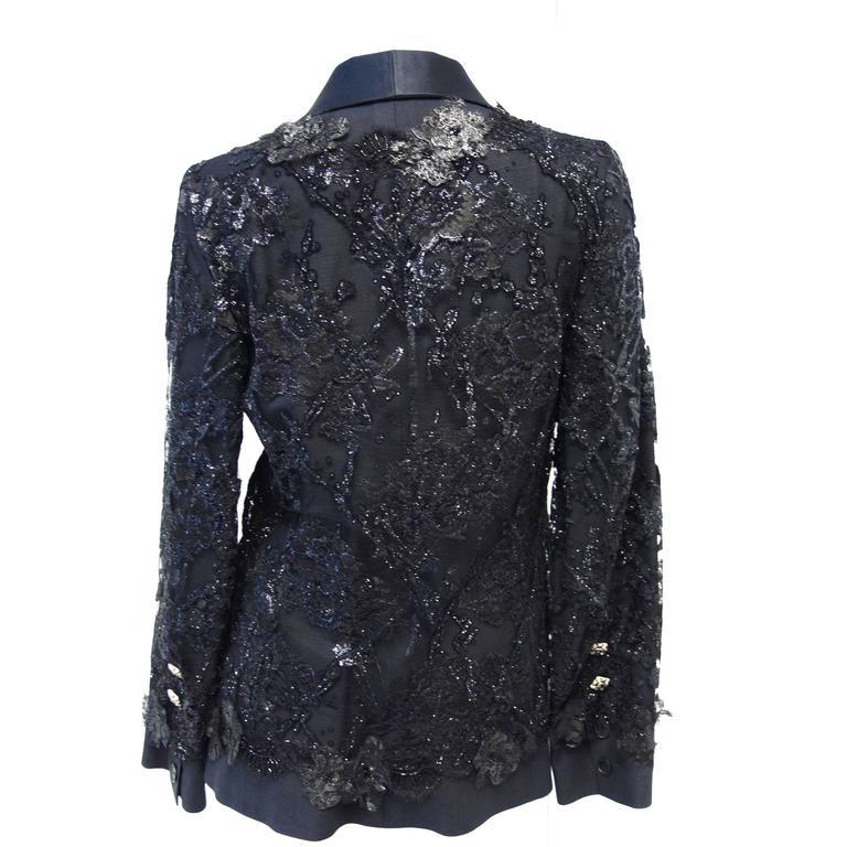 Chanel 11A Black Lesage Lace Runway Jacket Size 40 3