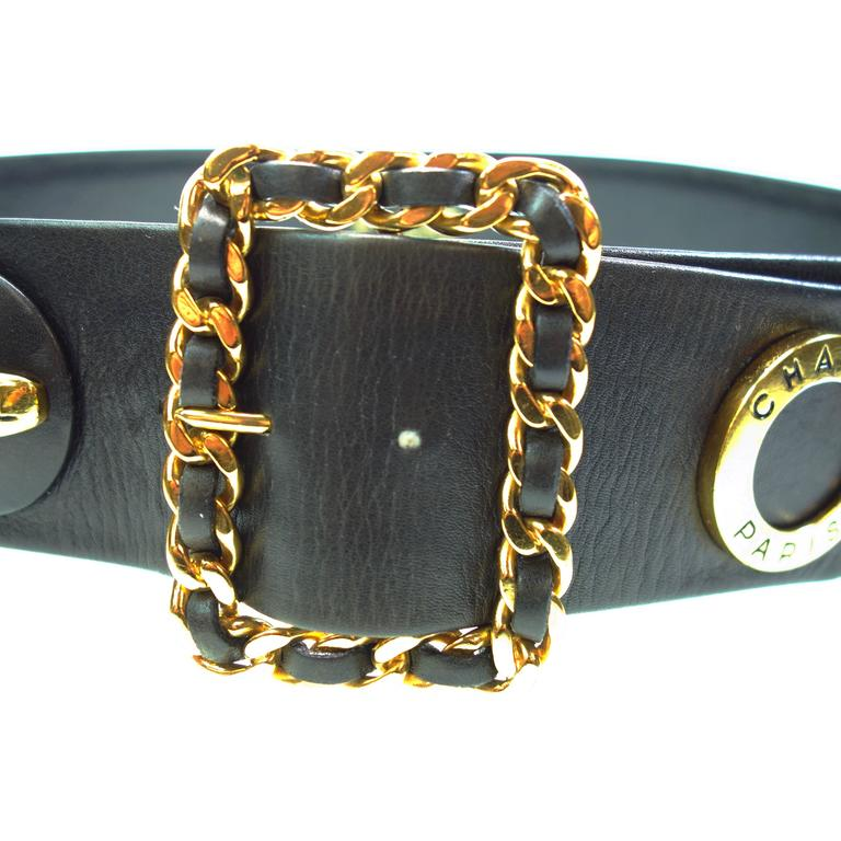 Authentic CHANEL 93P Gold CC Logos and Chain Buckle Black Belt 
