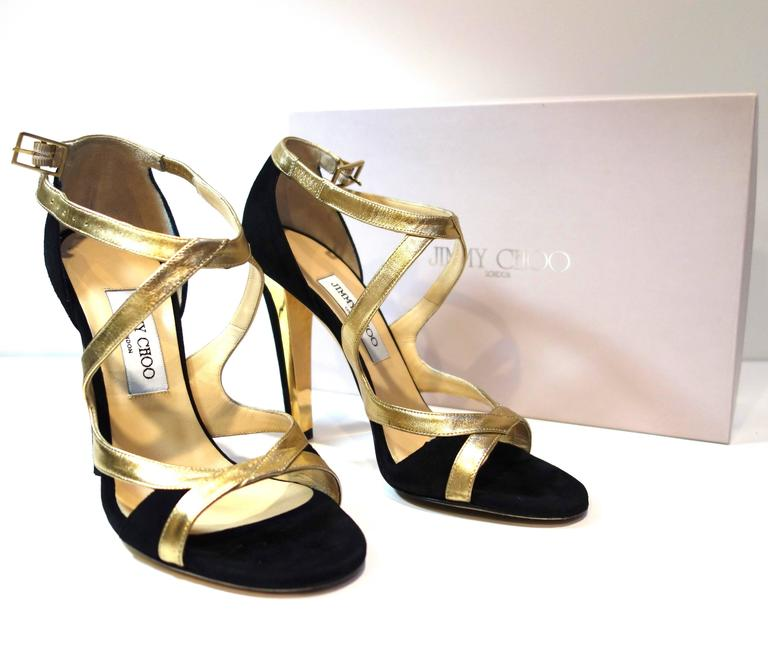 Jimmy Choo Black Suede Gold Leather 'Texas' Sandals 38.5 For Sale 1