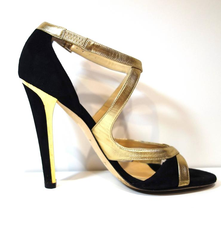 Beige Jimmy Choo Black Suede Gold Leather 'Texas' Sandals 38.5 For Sale