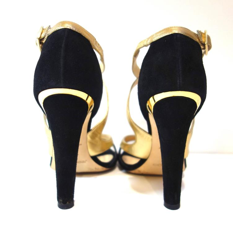 Jimmy Choo Black Suede Gold Leather 'Texas' Sandals 38.5 4