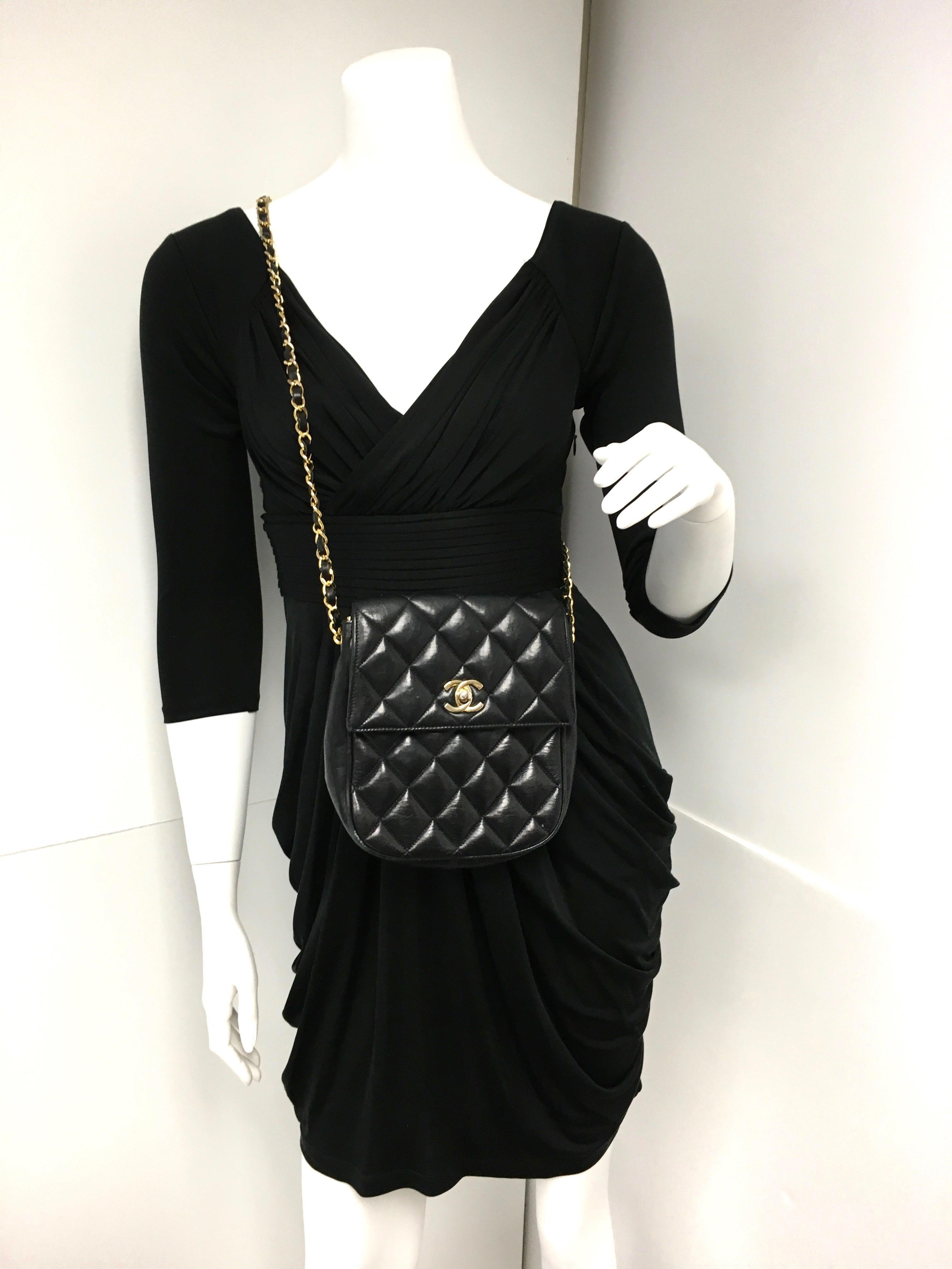 fcf40bad Vintage Chanel Black Lambskin Leather Mini Cross Body Flap Bag at 1stdibs