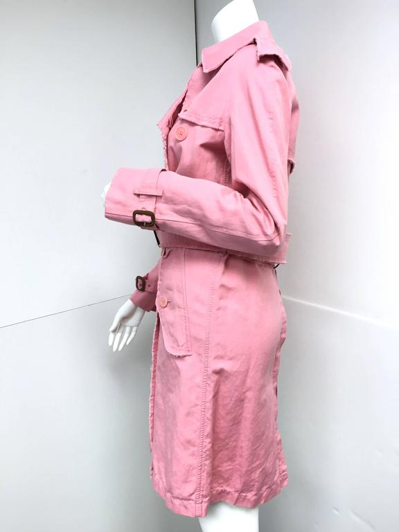 BURBERRY LONDON Signature Pink Fringed Trench Coat New For Sale 1
