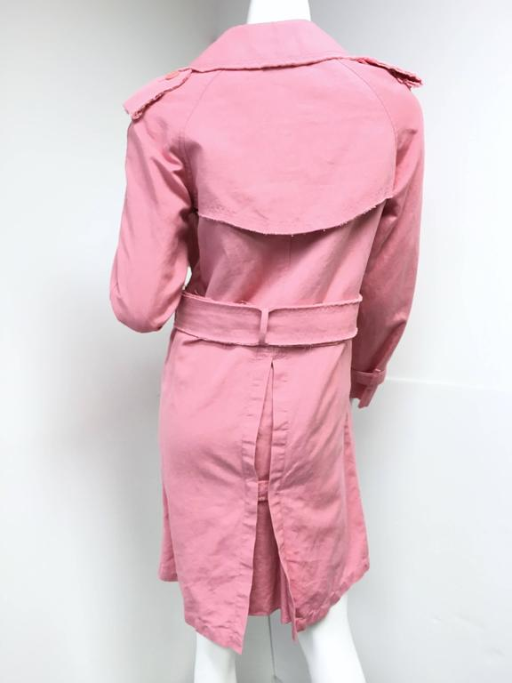 BURBERRY LONDON Signature Pink Fringed Trench Coat New For Sale 2