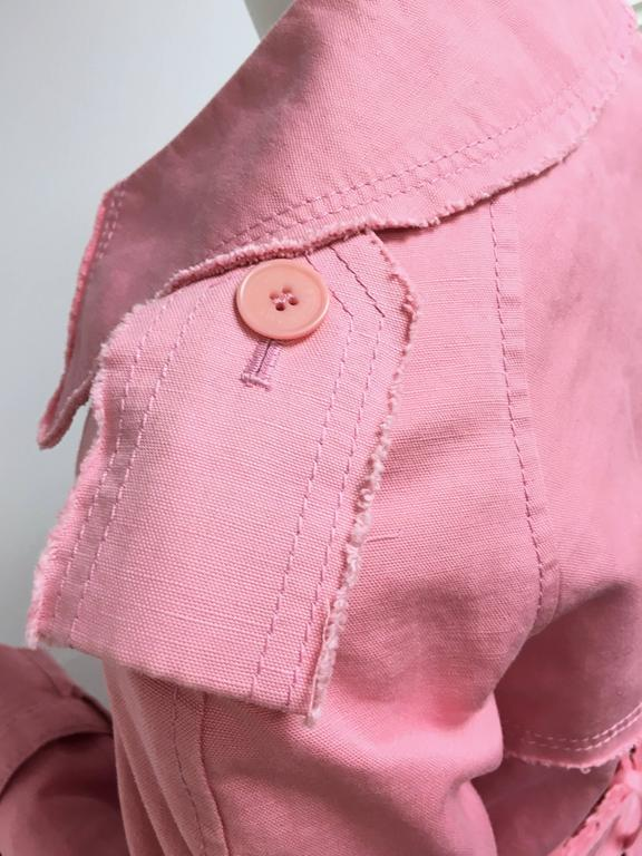 BURBERRY LONDON Signature Pink Fringed Trench Coat New For Sale 3