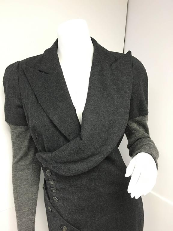 Amazing early Alexander McQueen gray wool fitted dress with knit sleeves.  