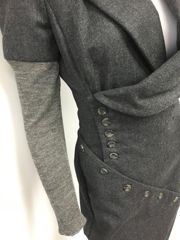 Black Vintage Alexander Mcqueen Gray Wool Button Dress For Sale