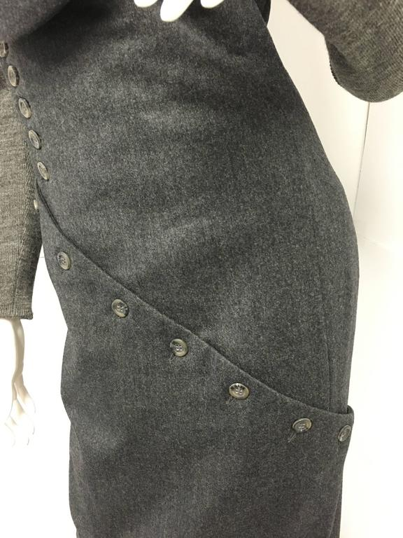 Vintage Alexander Mcqueen Gray Wool Button Dress In Excellent Condition For Sale In Westlake Village, CA