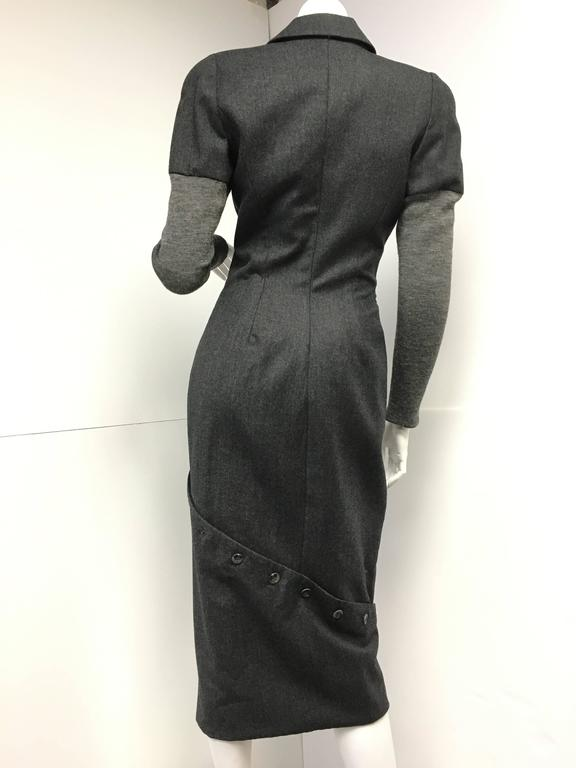 Vintage Alexander Mcqueen Gray Wool Button Dress For Sale 1
