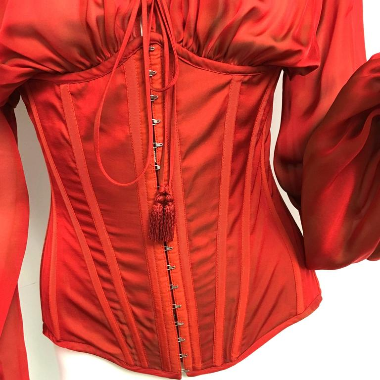 5c0256e4a4c5f3 Rare Jean Paul Gaultier Lace Up Corset Irridescent Red Silk Blouse. New  with Tag.