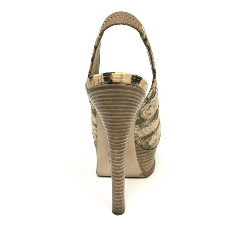 e5b9df3d FENDI Fendista Natural Platform Slingback Pump Open-Toe Shoes 35