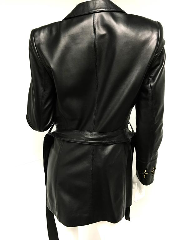 1e3541d2f8b87 Escada Black Gold Embroidered Leather Belted Jacket New For Sale at ...