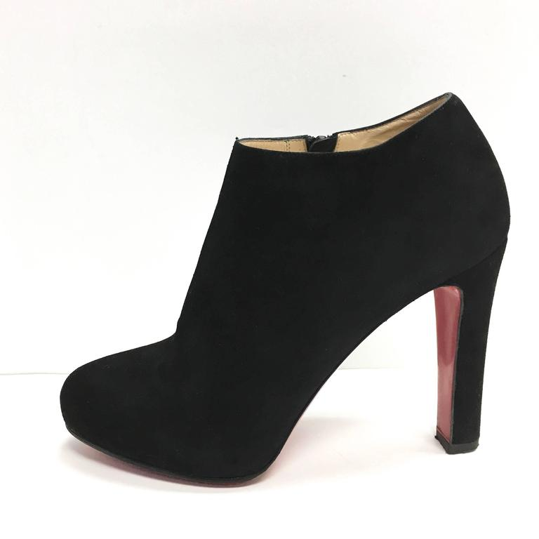 f4d1fc5e155 CHRISTIAN LOUBOUTIN Vicky Booty 120 Black Suede Red Bottom Ankle Boots 37.5