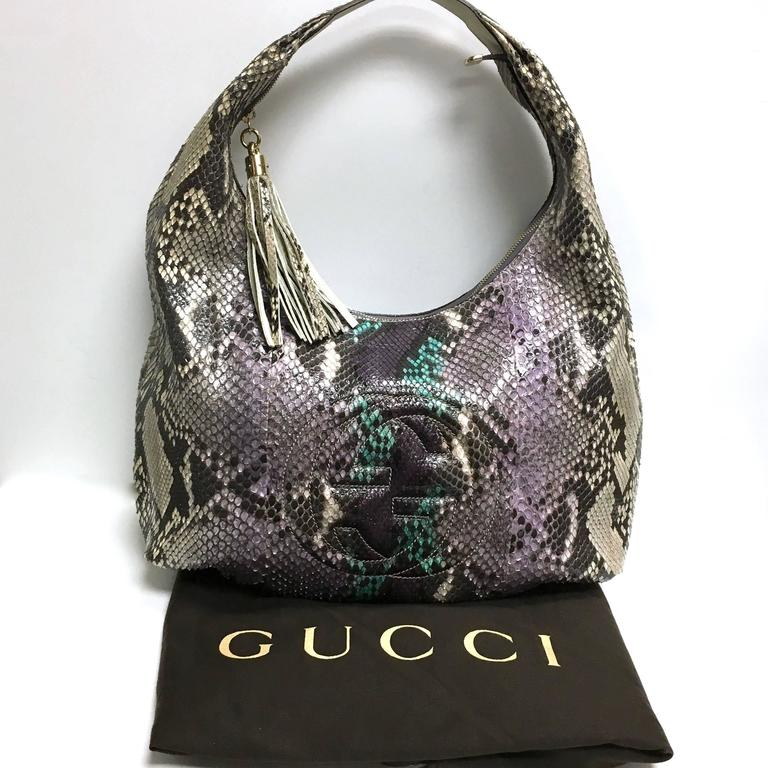 2c9454da4ca4 GUCCI Purple Beige Multicolor Python Soho Large Hobo Bag For Sale. This  statement hobo is crafted of exquisite python with purple