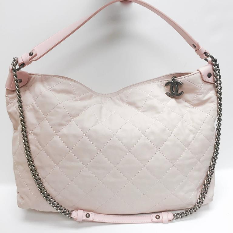 Gray CHANEL Light Pink Quilted Calfskin Leather Coco Daily Hobo Bag 13C For Sale