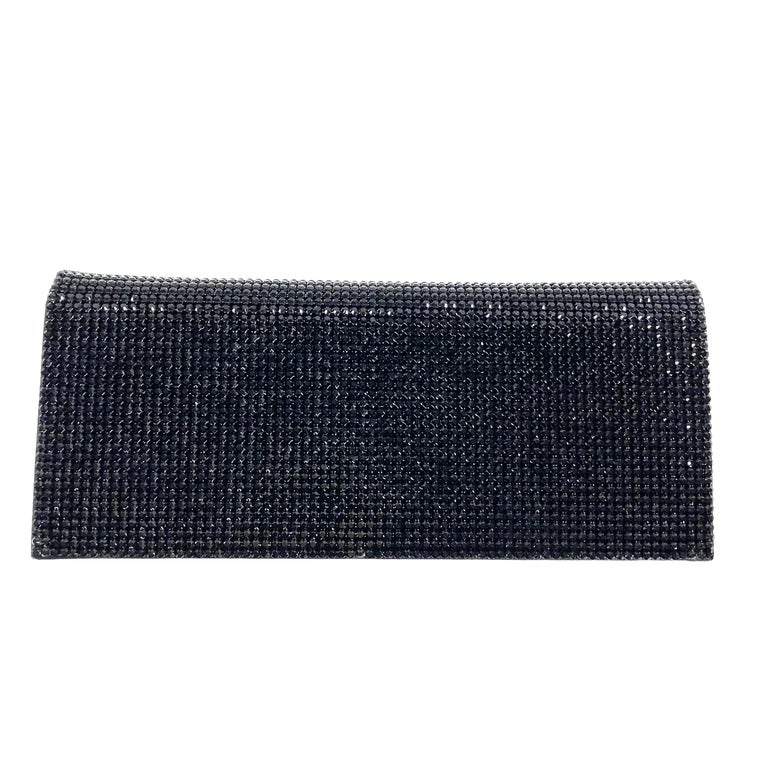 Gorgeous Escada evening bag covered with black crystals. Blsck metal chain strap. Can be used as a clutch.