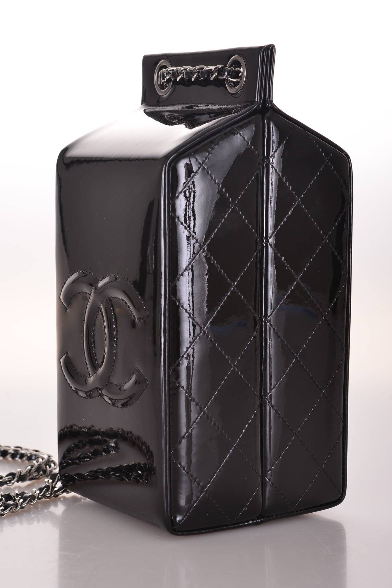 Limited Edition Black Patent Leather CHANEL Milk Carton Bottle Cross Body Bag 2