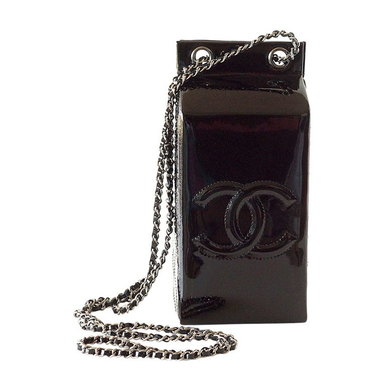 Limited Edition Black Patent Leather CHANEL Milk Carton Bottle Cross Body Bag 1