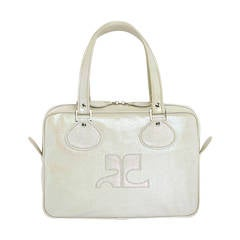 Courreges Iconic New Goat Skin Purse in Pearlescent Grey