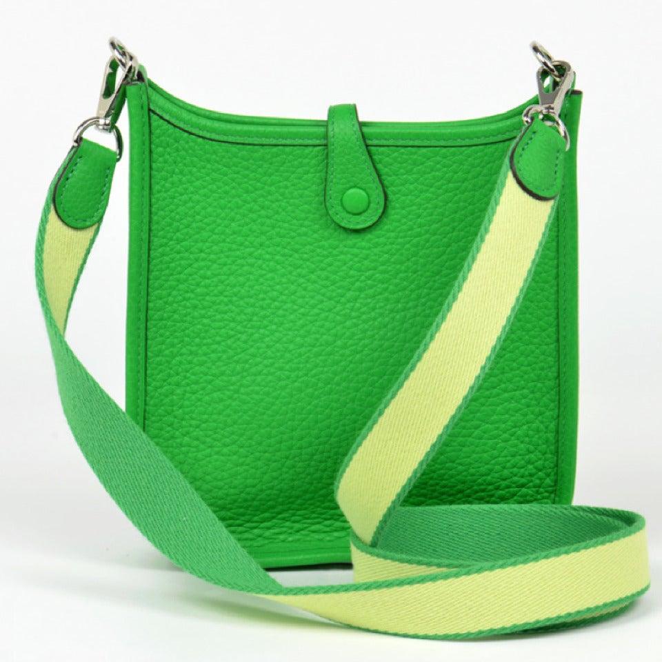 New HERMES Mini Evelyne Bambou Green Crossbody Bag - Clemence ...