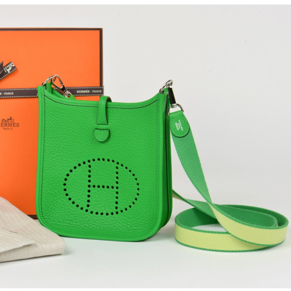 New HERMES Mini Evelyne Bambou Green Crossbody Bag - Clemence ...