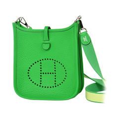 New HERMES Mini Evelyne Bambou Green Crossbody Bag - Clemence Leather - 2014