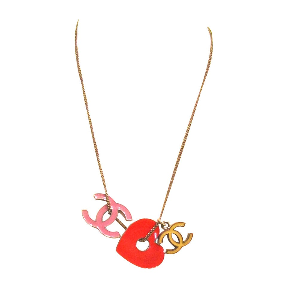 Vintage CHANEL Silver Toned Necklace - Red Heart, Pink &Yellow CC Logos - 1980's 1