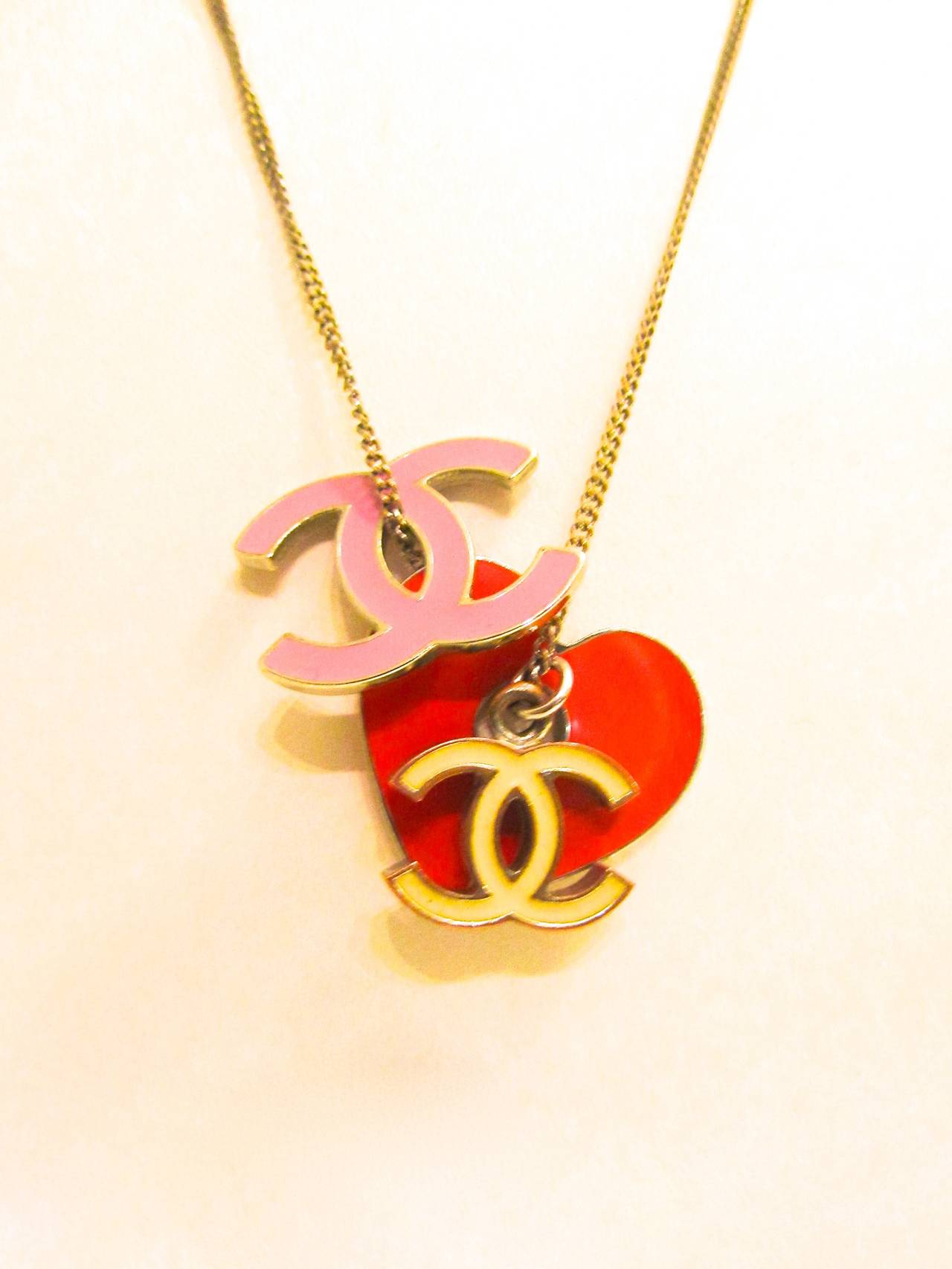 Vintage CHANEL Silver Toned Necklace - Red Heart, Pink &Yellow CC Logos - 1980's 2