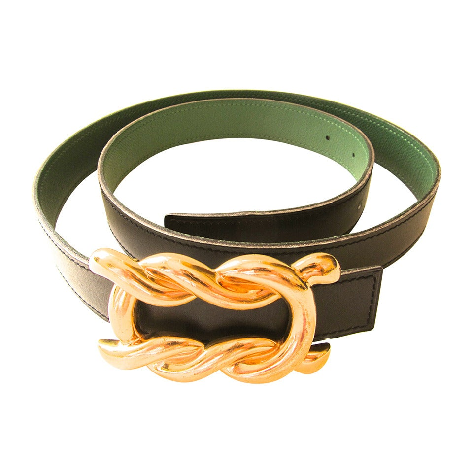 Rare HERMES 1980's Gold Tone Belt Buckle with Black and Green Strap For Sale